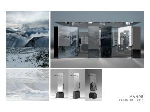 """""""Reflets du Nord"""" est né du désir d'immerger le client dans un univers déstabilisant, où le miroir, comme le cachemire, fait lien entre entre une réalité triviale et un monde merveilleux. L'espace est une réalité recomposée par le reflet: froide, féérique, à cheval entre la Scandinavie et la Suisse. Julie Décaillet"""