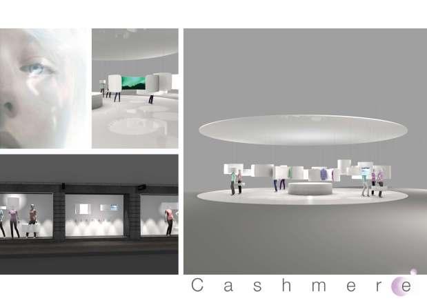 Lumière Bienfaisante En m'inspirant de la tendance Scandinavian Light donnée par Manor, j'ai réalisé un projet basé sur la luminothérapie. Le point of sale et les vitrines sont composés de différents cylindres suspendus. Dans ces cylindres, il y a soit des produits cashmere, soit un écran 360° avec des paysages Scandinaves, soit de la luminothérapie. J'ai voulu offrir la possibilité aux consommateurs de réaliser plus qu'un simple achat, une pause bien-être durant leur shopping. Alizée Lançon
