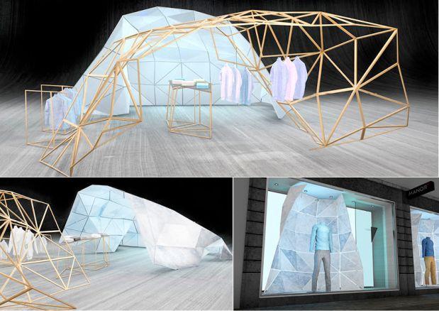 Pour ce projet, il nous avait été demandé de réaliser un concept 360°comprenant un POS, une vitrine ainsi qu'une communication. Mon concept s'est basé sur une structure modulable, symbolisant la voûte de glace, pouvant parfaitement s'adapter à chaque espace, que cela soit pour une vitrine ou un POS. Le but était de mettre en scène le produit d'une façon totalement différente et innovante. Luc Pugin