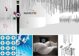 Une marche à travers l'histoire de la marque Swatch, une chronologie factuelle sous forme d'installation artistique inspirée des aiguilles horlogères et de l'univers même des modèles exposés. Cette installation met en valeur chaque montre en illustrant par un passage du 2D au 3D son histoire, son design et l'histoire de son concepteur. Laura Trummer